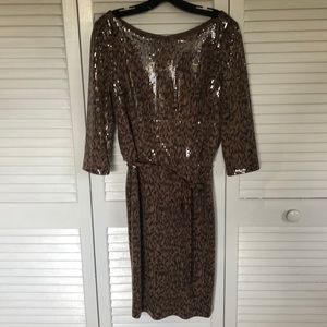 Chetta B leopard sequin dress. Worn once.